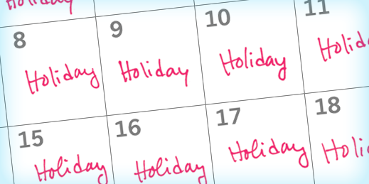 Calendar marked with 'holiday'